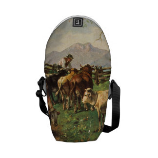 Vintage Postcard, Farmer Herding Cows Messenger Bag