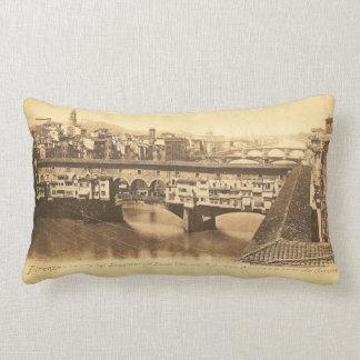 Vintage Postcard, Florence, Italy Lumbar Pillow