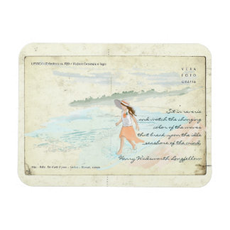 Vintage Postcard Girl Wading into Water Magnet