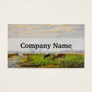 Vintage Postcard, Grazing Cows, Farm Business Card