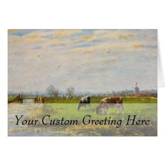 Vintage Postcard, Grazing Cows, Farm Card