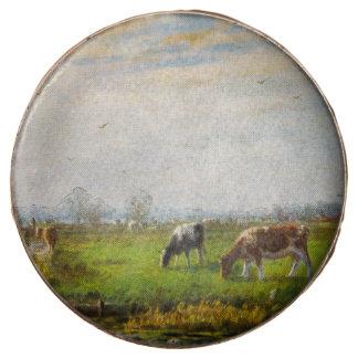 Vintage Postcard, Grazing Cows, Farm Chocolate Dipped Oreo