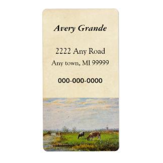 Vintage Postcard, Grazing Cows, Farm Label