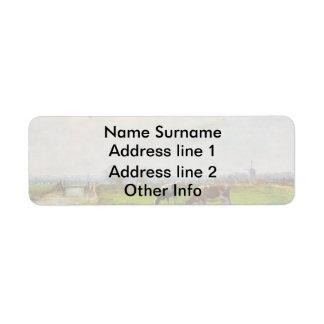 Vintage Postcard, Grazing Cows, Farm Return Address Label