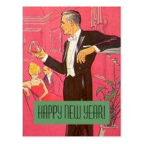 Vintage Postcard Happy New Year Gentleman Toasts