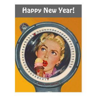 Vintage Postcard Happy New Year Weight Resolution