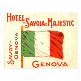 Vintage Postcard - Hotel Savoia Genova Italy