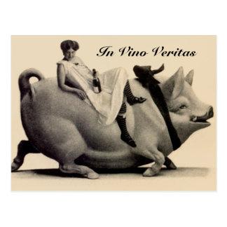 Vintage Postcard lady wine & pig In Vino Veritas