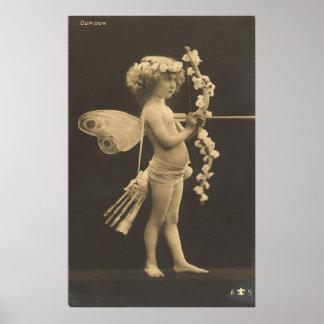 Vintage Postcard - Little Girl Cupid Poster