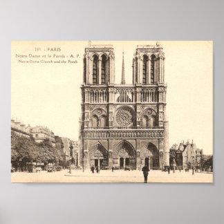 Vintage Postcard of Notre Dame in Paris Poster