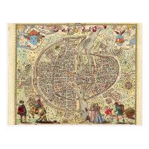 Vintage Postcard Old Map of Paris university 1576