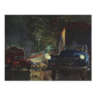 Vintage Postcard Retro Rainy Night Roadside Diner