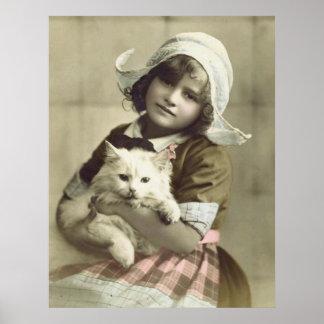 Vintage Postcard - Sweet Girl Holding Cat Poster