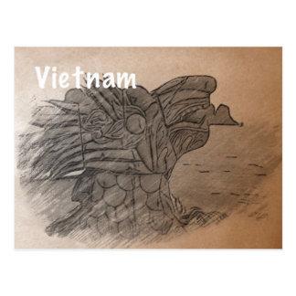 Vintage postcard Vietnam - hand drawn dragon