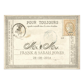 Vintage Postcard Wedding French Personalized Announcement