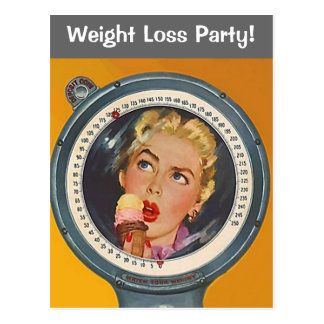 Vintage Postcard Weight Loss Party Invite Scale