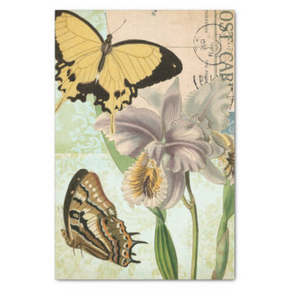"""Vintage Postcard with Butterflies and Flowers 10"""" X 15"""" Tissue Paper"""