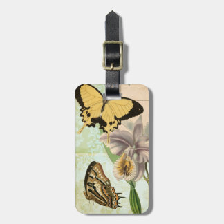 Vintage Postcard with Butterflies and Flowers Bag Tag