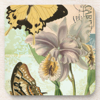Vintage Postcard with Butterflies and Flowers Drink Coaster