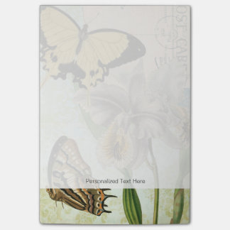 Vintage Postcard with Butterflies and Flowers Post-it® Notes