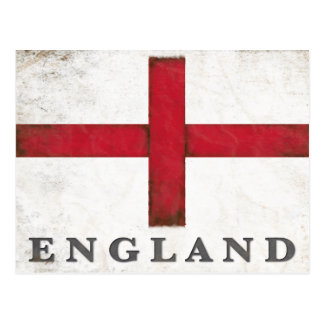 Vintage Postcard with Dirty Old English Flag