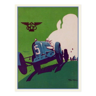 Vintage Postcard With Old Racing Car