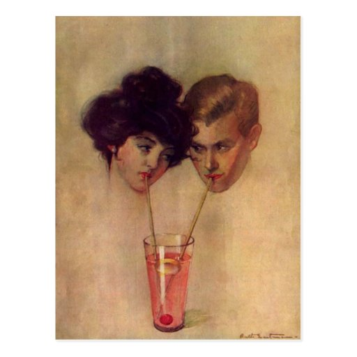 Vintage Postcard With Refreshing Young Couple
