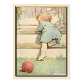Vintage Postcard with Sweet Baby Illustration