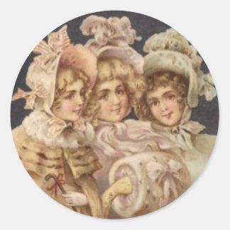 Vintage Postcard Women Victorian Christmas Sticker