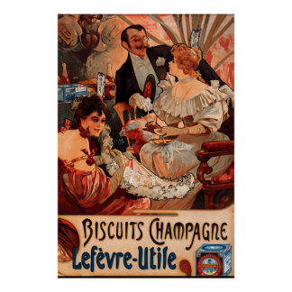 Vintage Poster Alphonse Mucha Biscuits Ad