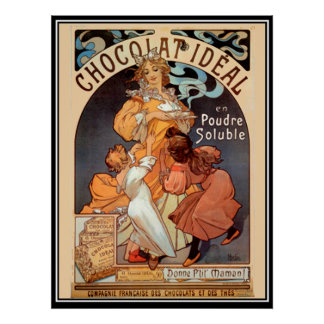 Vintage Poster alphonse mucha Chocolate Ad Poster
