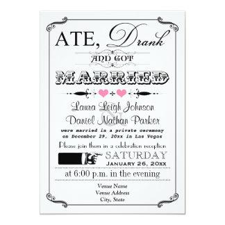 "Vintage Poster and Chalkboard Wedding Invitation 2 5"" X 7"" Invitation Card"