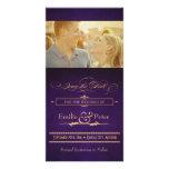 Vintage Poster Aubergine Purple Save the Date Custom Photo Card