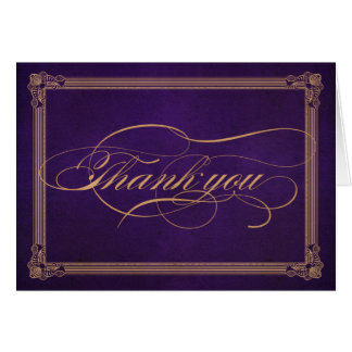 Vintage Poster Aubergine Purple Thank You Card