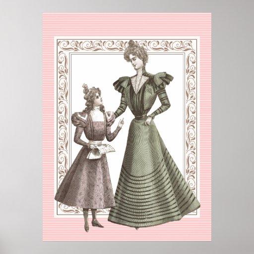 Vintage Poster Belle Epoque Mother Daughter