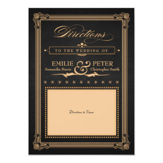 "Vintage Poster Black Gold Wedding Directions Card 4.5"" X 6.25"" Invitation Card"