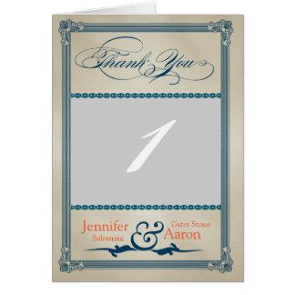 Vintage Poster Blue Cream Wedding Thank You Photo Card