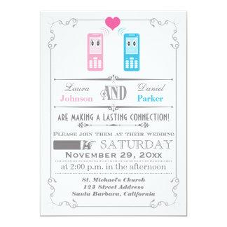 "Vintage Poster, Cell Phone Love Wedding Invitation 5"" X 7"" Invitation Card"