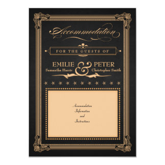 """Vintage Poster Charcoal & Gold Accommodation Card 4.5"""" X 6.25"""" Invitation Card"""