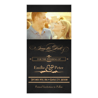 Vintage Poster Charcoal & Gold Save the Date Card