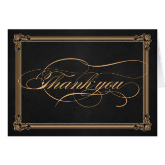 Vintage Poster Charcoal & Gold Thank You Card