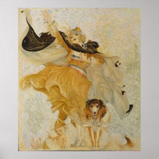 Vintage Poster Collie Dog and Fashion Diva