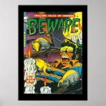 Vintage Poster Comic Book Covers Beware Print