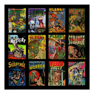 Vintage Poster Comic Book Covers Collage
