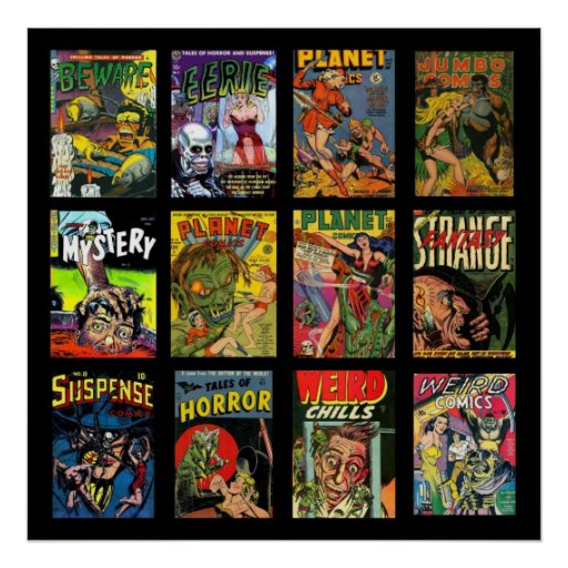 Classic Book Covers Collage ~ Vintage poster comic book covers collage zazzle