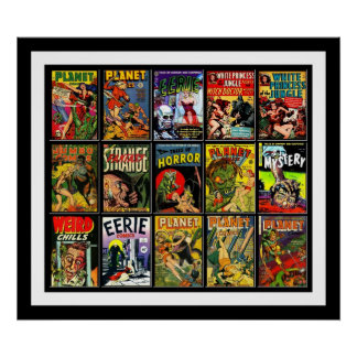 Vintage Poster Comic Book Covers Collage 15A Posters