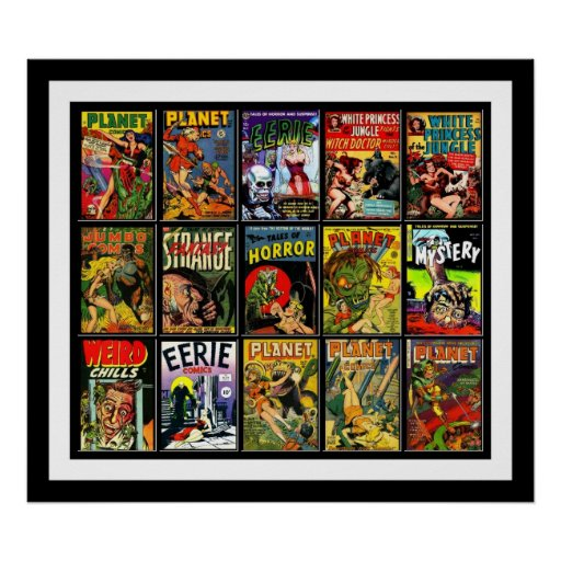 Classic Book Covers Collage ~ Vintage poster comic book covers collage a zazzle