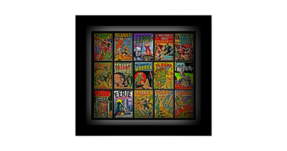 Book Cover Collage Poster : Vintage poster comic book covers collage c large zazzle
