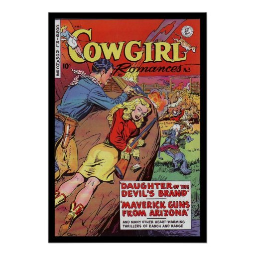 Vintage Book Cover Posters : Vintage poster comic book covers cowgirl posters zazzle