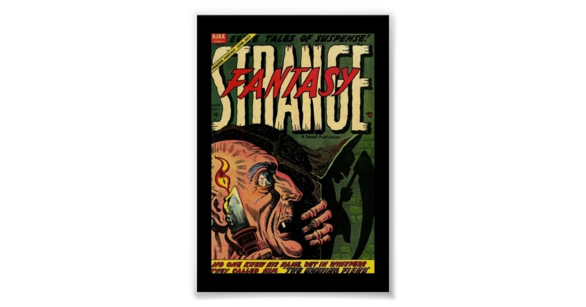 Vintage Comic Book Cover Posters : Vintage poster comic book covers strange zazzle